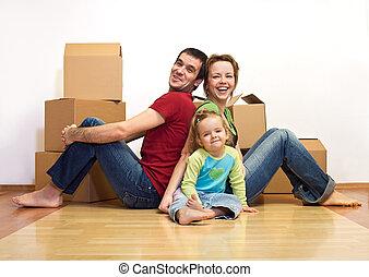famiglia, loro, scatole, casa nuova, cartone, felice
