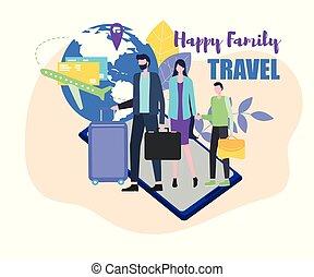 famiglia, madre, viaggiare, bambino, padre, valigia