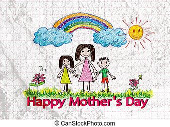 famiglia, madri, illustrazione, cartoni animati, w, giorno, scheda, felice