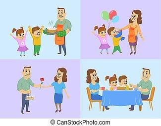 famiglia, marzo, preparare, 8, dare, intero, concept., mamma, giorno, regali, cena, vettore, donne, possedere, torta, internazionale, vacanza, tavola., bambini, marito, illustration.