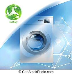 famiglia, moderno, ambientale, apparecchi, care., washer.