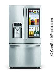famiglia, moderno, magazzino, isolato, finestra, fondo, bianco, bibite, frigorifero, 3d