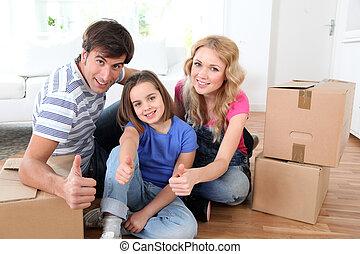 famiglia, muoversi dentro, casa nuova