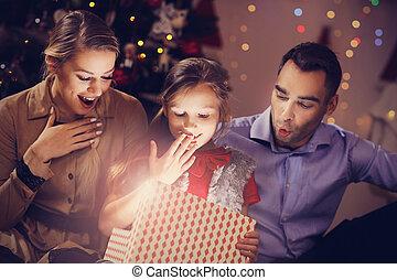 famiglia, natale felice, presente, apertura