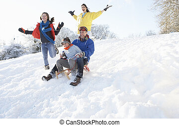famiglia, nevoso, giù collina, sledging, divertimento,...