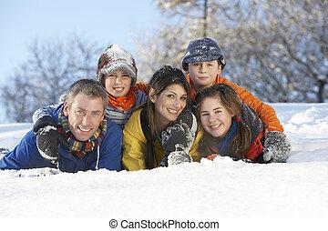 famiglia, nevoso, giovane, divertimento, detenere, paesaggio