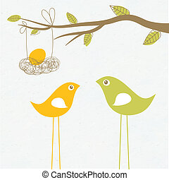 famiglia, nido, bambino, arrivare, uovo, uccelli, scheda