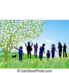 famiglia, organizzare, un, escursione