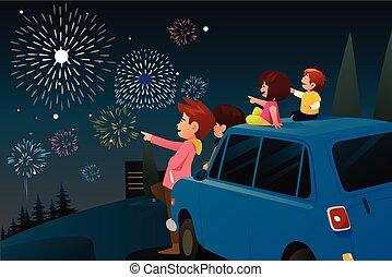 famiglia, osservare, fireworks, anno, nuovo, celebrazione
