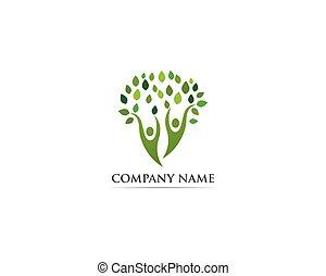 famiglia, persone, albero, vettore, sagoma, logotipo