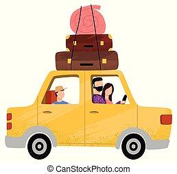 famiglia, persone sedendo, vacanza, andare, automobile