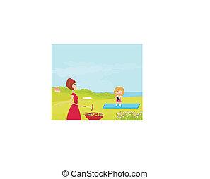 famiglia, picnic, in, uno, parco