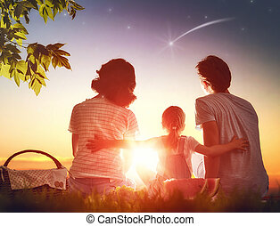famiglia, picnicking, insieme