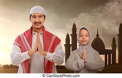 famiglia, pregare, vestire, musulmano, tradizionale, asiatico, religioso