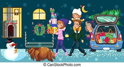 famiglia, presenta, andando casa, cartone animato, felice