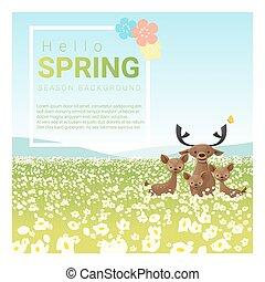 famiglia, primavera, cervo, 1, fondo, ciao, paesaggio