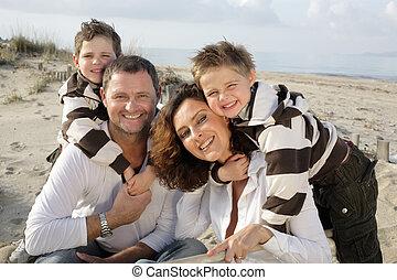 famiglia, quattro, bello