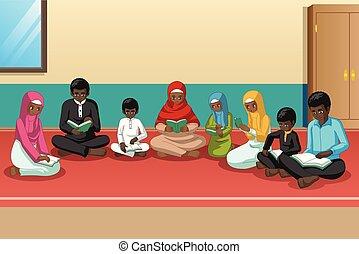 famiglia, quran, studiare, musulmano, insieme, africano