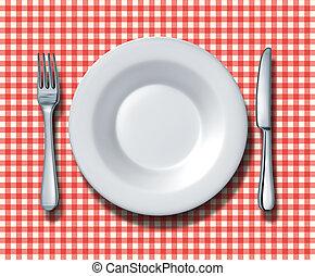 famiglia, ristorante, setting posto