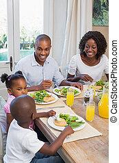 famiglia, sano, insieme, godere, pasto, felice
