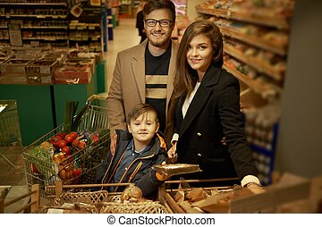 famiglia, scegliere, bread, in, uno, supermercato
