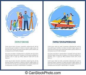 famiglia, sciare, snowmobiling, hobby, in, inverno, stagione