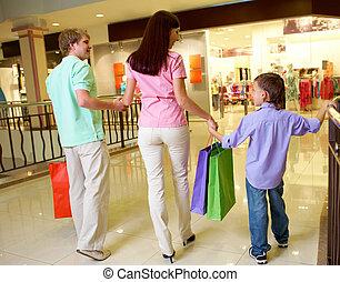 famiglia, secondo, shopping