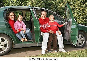 famiglia, seduta, automobile