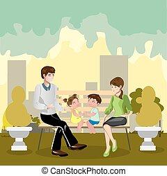famiglia, seduta, in, uno, parco