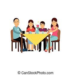famiglia, seduta, moglie, illustrazione, bambini, vettore, insieme, tavola, felice, detenere, marito, pasto