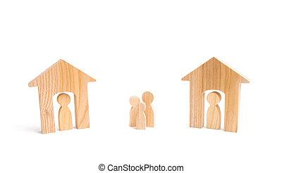 famiglia, shelter., case, suburbs., relazioni, neighbors., fra, persone, mancanza, vicini casa, legno, riparo casa, fondo., loro, bianco, uomo