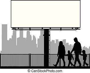famiglia, silhouette, urbano, fondo.