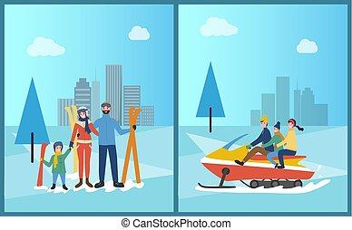famiglia, snowmobiling, e, sciare, in, inverno, parco