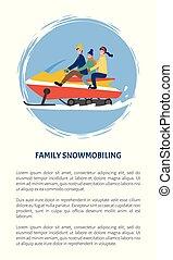 famiglia, snowmobiling, persone, divertimento, fuori