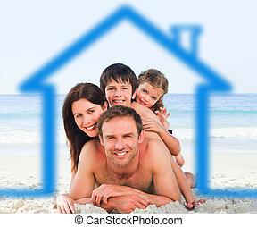 famiglia, spiaggia, con, casa blu