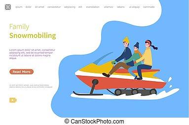 famiglia, su, snowmobile, snowmobiling, attività, web