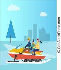 famiglia, su, snowmobile, snowmobiling, persone, parco