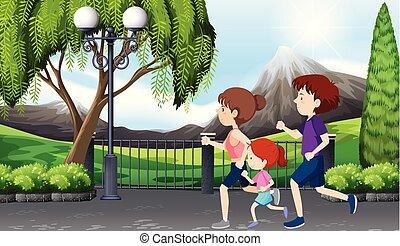 famiglia, su, uno, corsa, parco, scena
