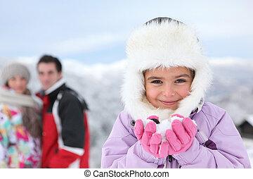 famiglia, su, uno, vacanza inverno