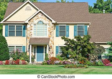famiglia, suburbano, landscaped, filadelfia, papà, casa