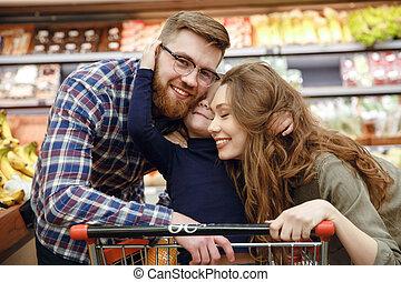 famiglia, supermercato, felice