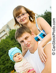 famiglia, tre, felice
