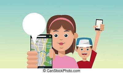 famiglia, usando, linea, tassì, app, hd, animazione