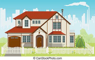 famiglia, vettore, house., illustration., eps8