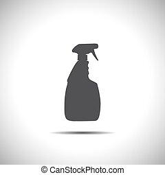 famiglia, vettore, pulizia, bottiglia