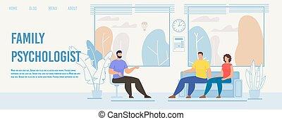 famiglia, vettore, webpage, appartamento, psicologo, sagoma