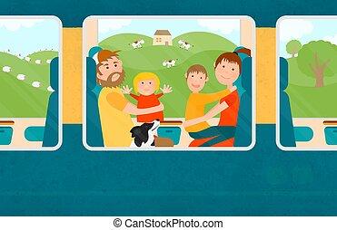 famiglia, viaggiare, insieme, giovani bambini, train.