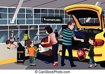famiglia, viaggiatore, esterno, il, aeroporto