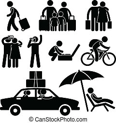A set of pictogram representing family and couple going for holiday in a trip and vacation.