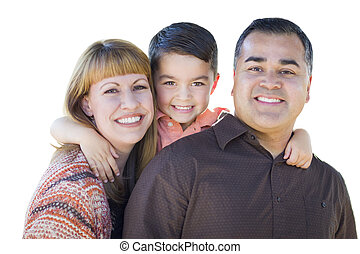 familia , aislado, joven, carrera, mezclado, blanco, feliz